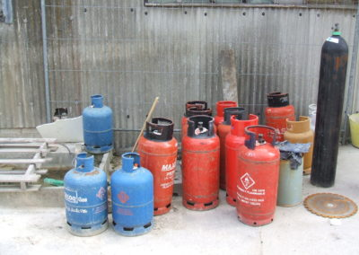 poorly stored gas bottles