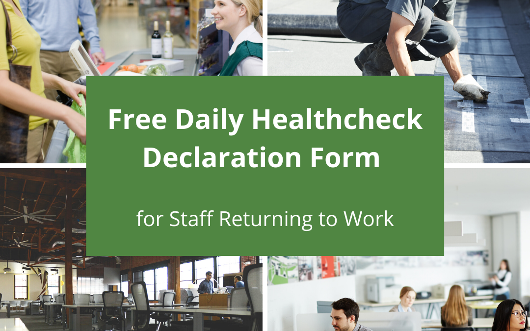 Free Daily Health Declaration for Staff Returning to Work